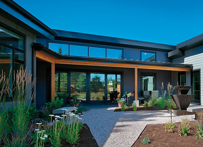 architect series contemporary windows back yard exterior view